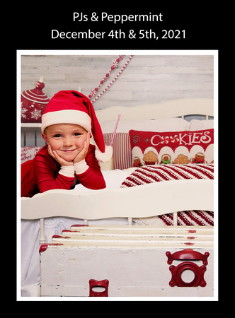 Photo of young boy in Christmas PJs and red Santa hat on bed with Peppermint decor, and milk and cookies