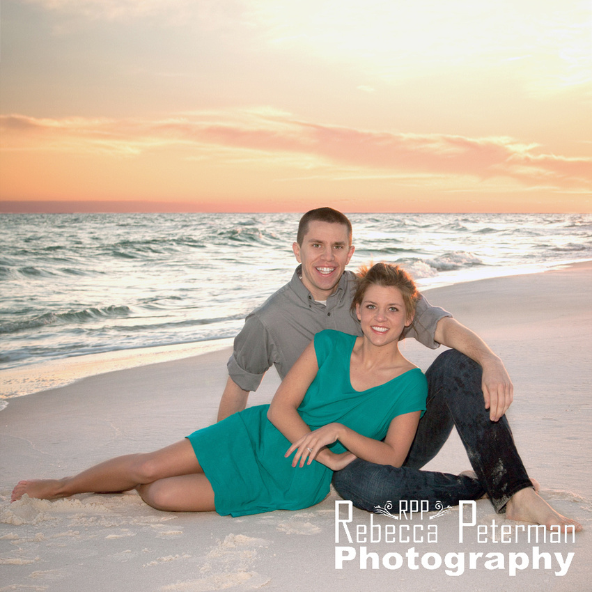 Couple on Perdido Key beach at sunset