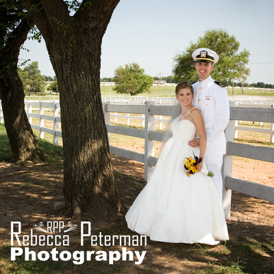 Bride and Military Groom on ranch
